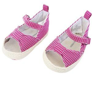 Pink Gingham Bow Infant Soft Sole Sandals